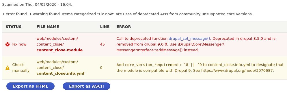 drupal deprecated code